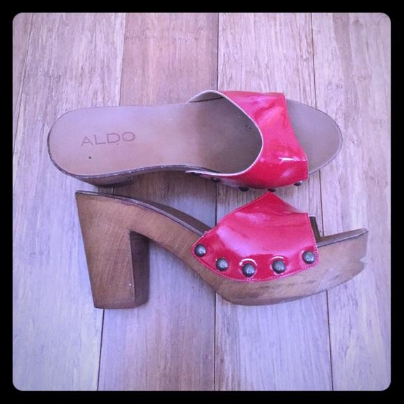 7a3ec300e297b Aldo Shoes | Red Patent Wooden Clog Mules Slides | Poshmark