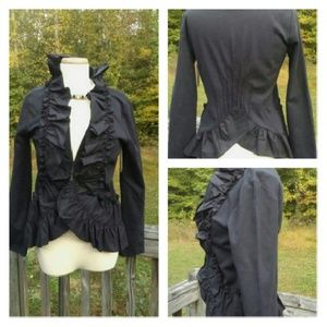 Gorgeous  Black Ruffle Blazer