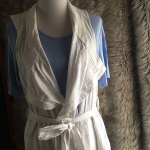 Lane Bryant white linen vest