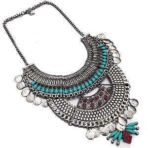 Jewelry - Brand-new Bohemian style silver beaded necklace
