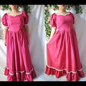 Vintage 70s Pink Formal Dress
