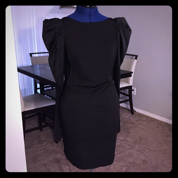 Bcbgmaxazria Dresses Bcbg Black Long Sleeve Dress With Puff Sleeve