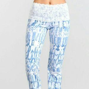 Blue white lace high waisted yoga pants boot cut