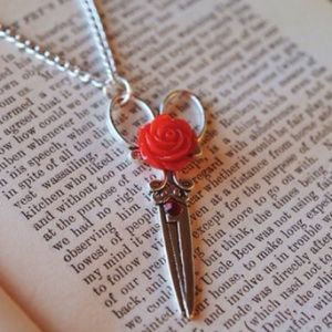 Abbie's Anchor Jewelry - Scissor // Shears necklace with red rose🌹