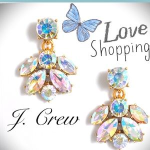 NWT J. Crew Rainbow Crystal drop earrings