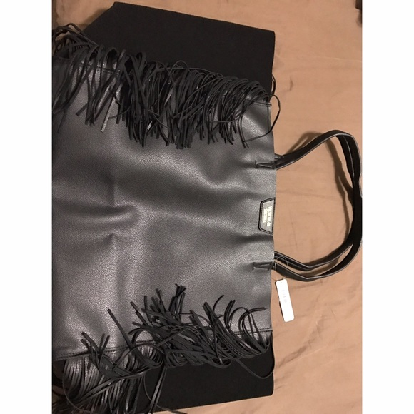 Victoria's Secret Handbags - NWT! Black Leather fringe Victoria secret bag.