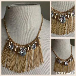 Fringe statement necklace rhinestone
