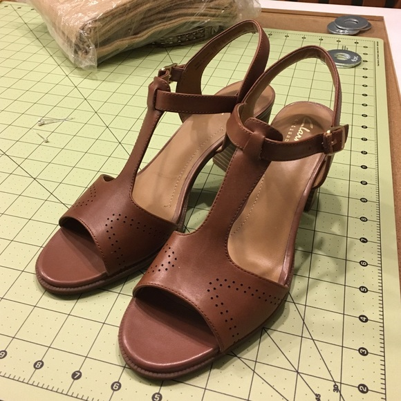 72dd188a7 Clarks Shoes - Clarks Ciara Glass T-Strap Brown Leather Heels