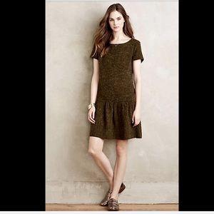 Anthropologie Maeve olive Dropwaist Dress XL