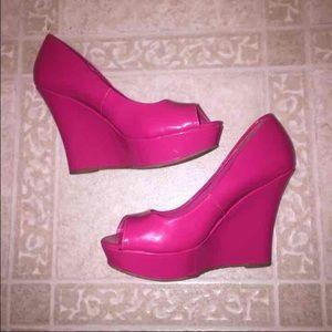 Shoes   Hot Pink Wedges   Poshmark