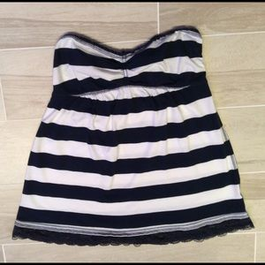 Ruehl No. 925 Tops - Navy and white striped strapless top