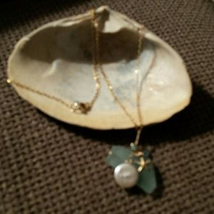 Beach glass with starfish necklace