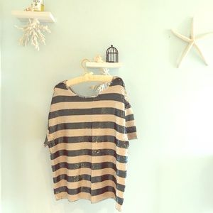 silence + noise Tops - Sequin SILENCE & NOISE oversize striped  tee NWT