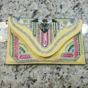 Yellow beaded sequined envelope clutch