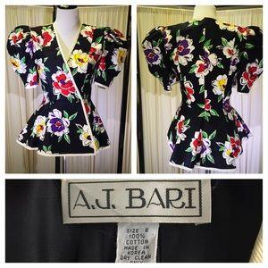 A.J. Bari Jackets & Blazers - Vintage A.J. Bari Multicolor Floral Peplum Blazer