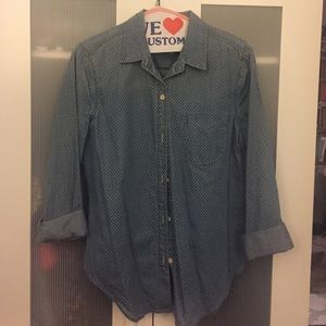 Gap polka dot chambray shirt