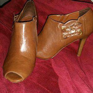 Studio Paolo Shoes - Brown Peeptoe Booties, Size 10