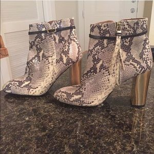 Topshop snakeskin and gold booties size 9