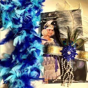 GREAT GATSBY 1920s Party headband boa Costume