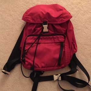 Authentic Prada Red Small Nylon Backpack