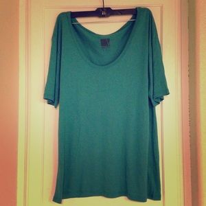 valette Tops - Valette green scoop neck slub tee