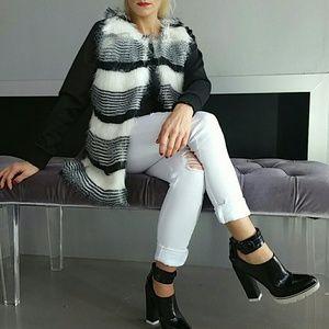 Jackets & Blazers - 'OPAL' Black&White Fur vest