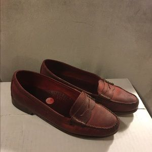 Weejuns by Bass red distressed penny loafers