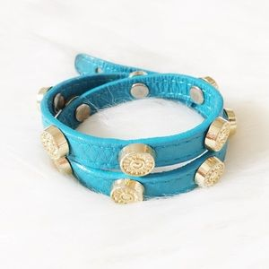 Turquoise Leather Studded Wrap Bracelet