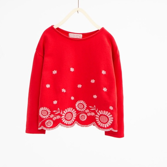 Red sweatshirt with floral embroidery -- Zara girl 1abcb958aee