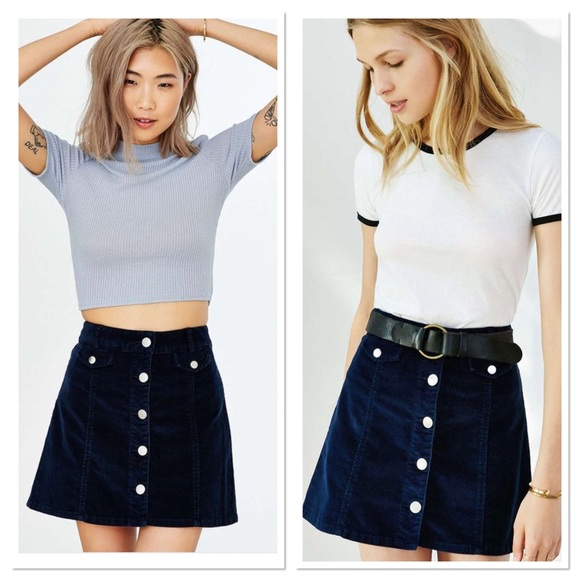 565607680 Urban Outfitters Skirts | Bdg Denim Navy Cord Button Skirt | Poshmark