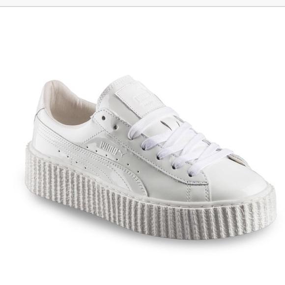 online retailer 46975 3888c Fenty x Puma White patent sneakers Creepers Sz 8