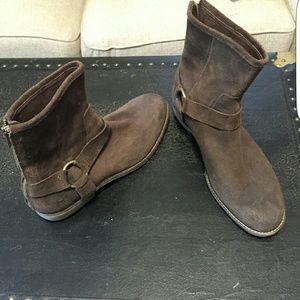Andrew mark brown suede moore biker boots