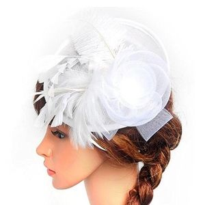 Beautiful White custom feather hat, also in black