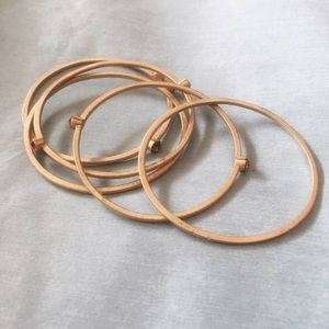 Anthropologie Jewelry - Anthropologie Faux gems on matte gold tone bangles