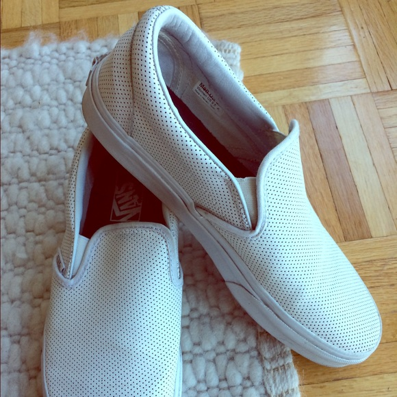 f0aa9ff492c Vans Perforated Leather Classic Slip-On in White. M 5810b9b87f0a0505cf11b509