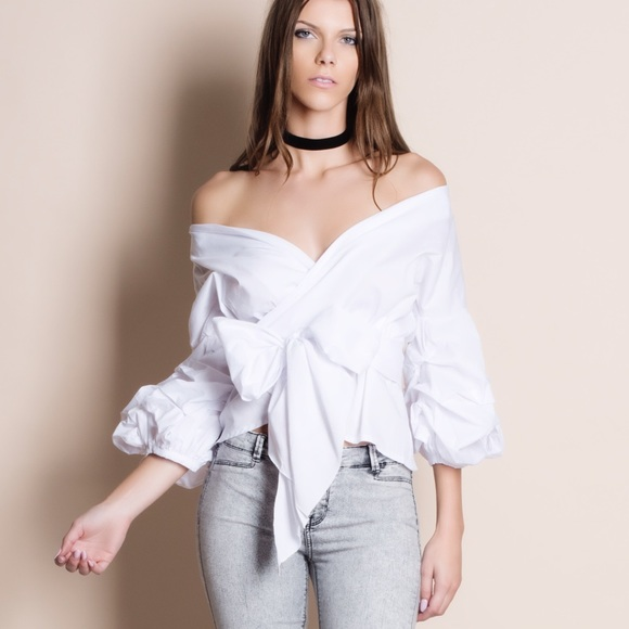 3b25ba91e2c3a3 Off Shoulder Puff Sleeve Wrap Top