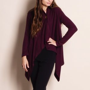 Burgundy One Button Soft Cardigan