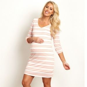 Pinkblush Dresses & Skirts - Pink Striped 3/4 Sleeve Maternity Dress