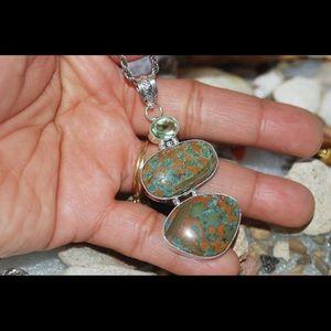 "handmade & handcrafted gemstone jewelry Jewelry - Camouflage Bamboo Jasper Pendant 2.4"" 925S"
