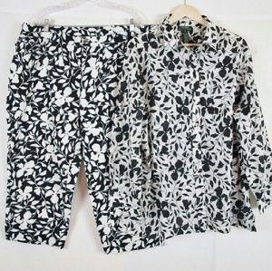 Lauren Ralph Lauren Pants - Floral 2 piece capri pants suit size 3X 22W