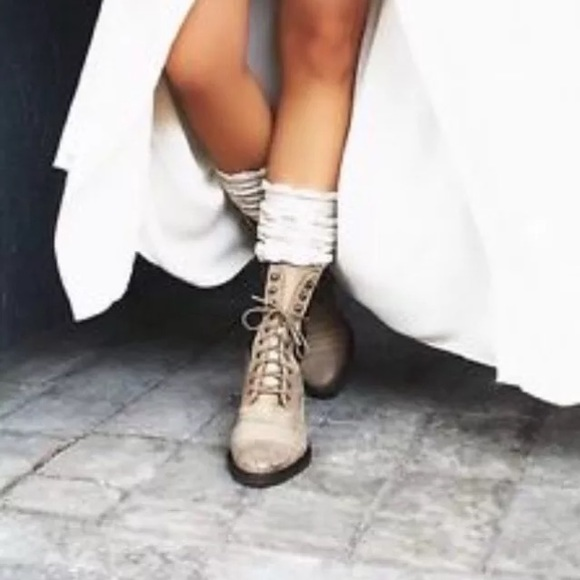 8cba7673a15b8 NEw free people sounder boots lace up granny moto