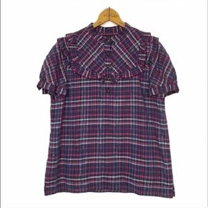 MARC BY MARC JACOBS $169 plaid  ruffle top