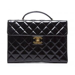 1e81b16d0f86 CHANEL Not for Sale · Chanel Black Patent Leather Vintage Briefcase Bag