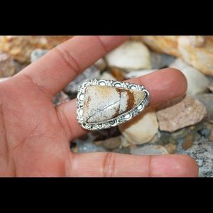 Picture Jasper Statement Ring Size 8