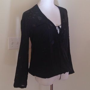Black Silk Burnout Wrap Blouse from Revolve