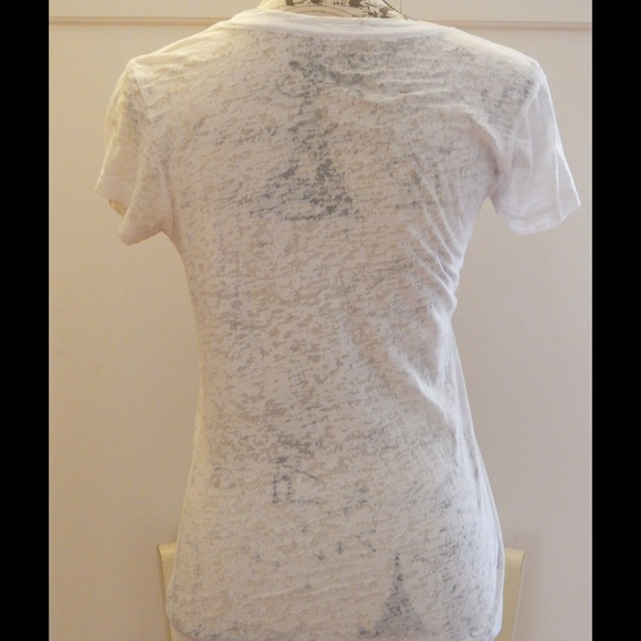 Doe Tops - Girly Mona Lisa Burnout Graphic Tee Sz S