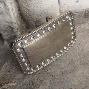 Accessories - Silver Square Pave Bling Belt Buckle