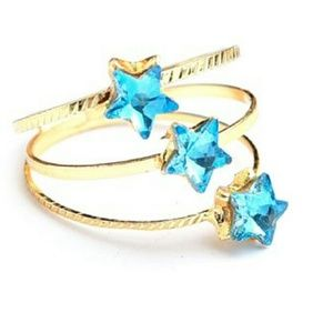 Jewelry - Jewelry | Cz Sapphire Star Triple Band Gold Ring