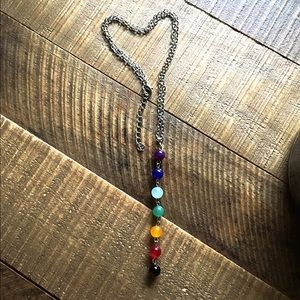 Jewelry - Brand new silver colored necklace with color beads
