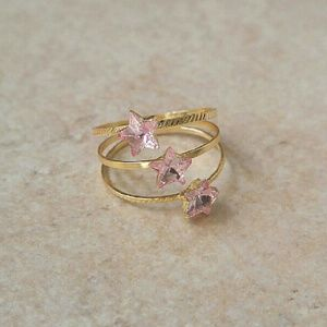 Jewelry - Jewelry | PINK CRYSTAL STAR GOLD SPIRAL RING